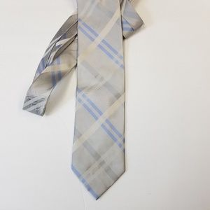 Other - City Of London Silk Plaid Silver Blue Necktie